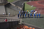 The home team are given a guard of honour for winning the league at the Commonwealth Stadium at Meadowbank before the Scottish Lowland League match between Edinburgh City and city rivals Spartans, which was won by the hosts by 2-0. Edinburgh City were the 2014-15 league champions and progressed to a play-off to decide whether there would be a club promoted to the Scottish League for the first time in its history. The Commonwealth Stadium hosted Scottish League matches between 1974-95 when Meadowbank Thistle played there.