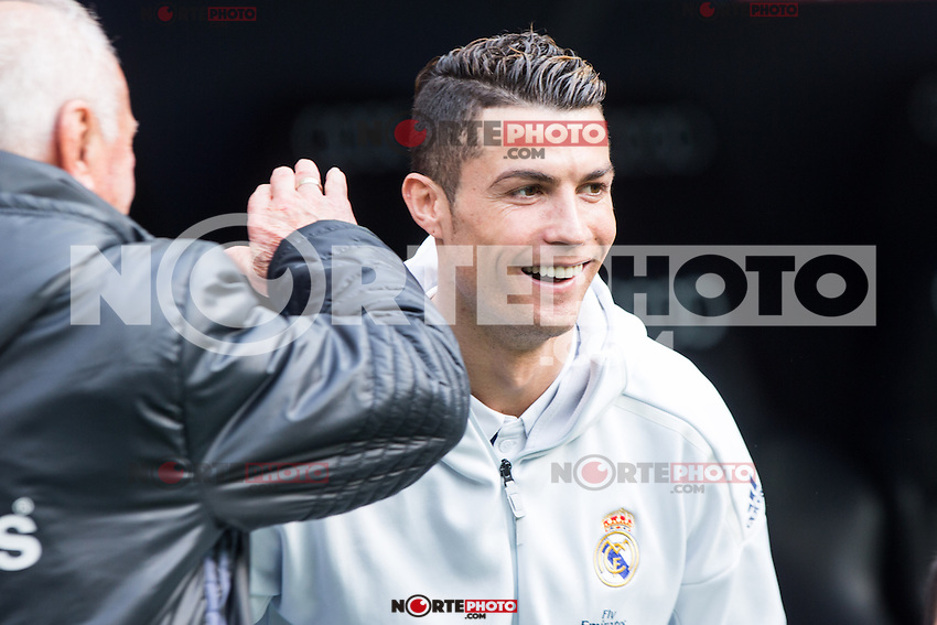 Cristiano Ronaldo of Real Madrid during the match of La Liga between Real Madrid and RCE Espanyol at Santiago Bernabeu  Stadium  in Madrid , Spain. February 18, 2016. (ALTERPHOTOS/Rodrigo Jimenez) /Nortephoto.com