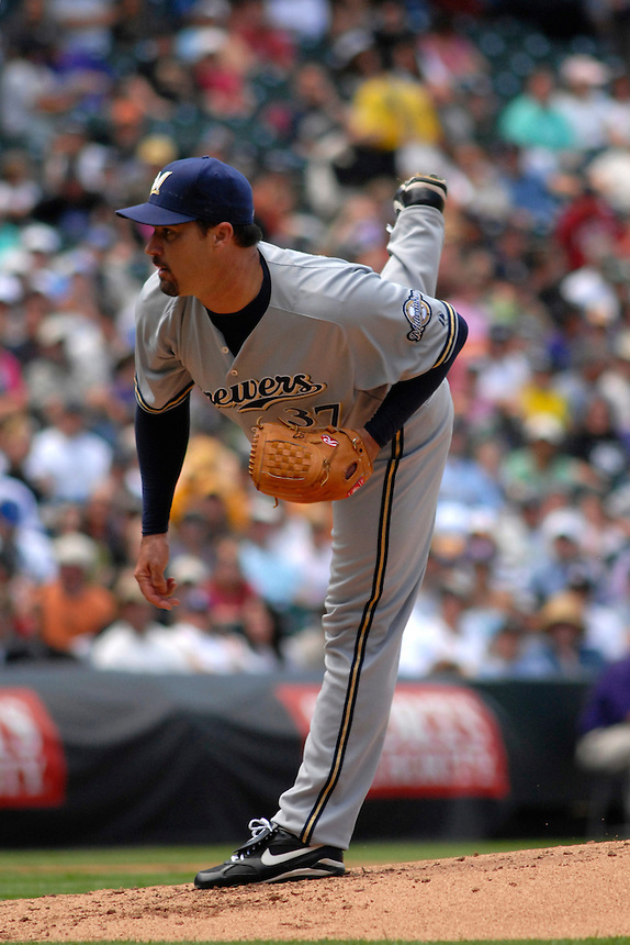 08 June 08: Milwuakee Brewers pitcher Jeff Suppan delivers a pitch against the Colorado Rockies. The Brewers defeated the Rockies 3-2 at Coors Field in Denver, Colorado. For EDITORIAL use only