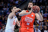 Real Madrid's Rudy Fernandez and Valencia Basket's Bojan Dubljevic during Quarter Finals match of 2017 King's Cup at Fernando Buesa Arena in Vitoria, Spain. February 19, 2017. (ALTERPHOTOS/BorjaB.Hojas)