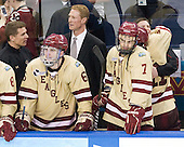 Bert Lenz (BC - Trainer), Patrick Wey (BC - 6), Greg Brown (BC - Assistant Coach), Isaac MacLeod (BC - 7), Pat Mullane (BC - 11), Chris Malloy (BC - Manager) - The Boston College Eagles celebrate their national championship win in the 2012 Frozen Four on Saturday, April 7, 2012, at the Tampa Bay Times Forum in Tampa, Florida.