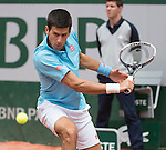 Novak Djokovic (SRB) takes the first two sets against Marin Cilic (CRO) at  Roland Garros being played at Stade Roland Garros in Paris, France on May 30, 2014