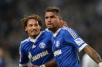 FUSSBALL   1. BUNDESLIGA   SAISON 2013/2014   12. SPIELTAG FC Schalke 04 - SV Werder Bremen                           09.11.2013 Jermaine Jones (FC Schalke 04) und Kevin-Prince Boateng (v.l., beide FC Schalke 04) jubeln nach dem 1:1.