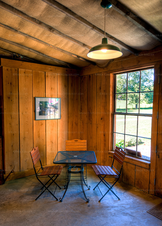 Table and chairs in the corner of the tasting room at Village Winery.  (HDR Image.)