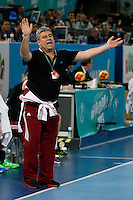 17.01.2013 World Championshio Handball. Match between Spain vs Hungray at the stadium La Caja Magica. The picture show Lajos Mocsai (Coach of Hungary)