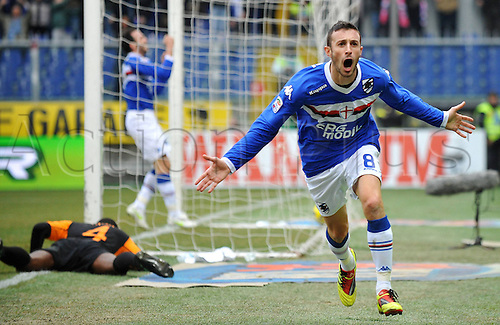 09 01 2011  Sampdoria Player Stefano Guberti Celebrates His 2 1 Leading Goal Sampdoria versus Roma Series A 2010 2011 Stadio Luigi Ferraris  Marassi Genova