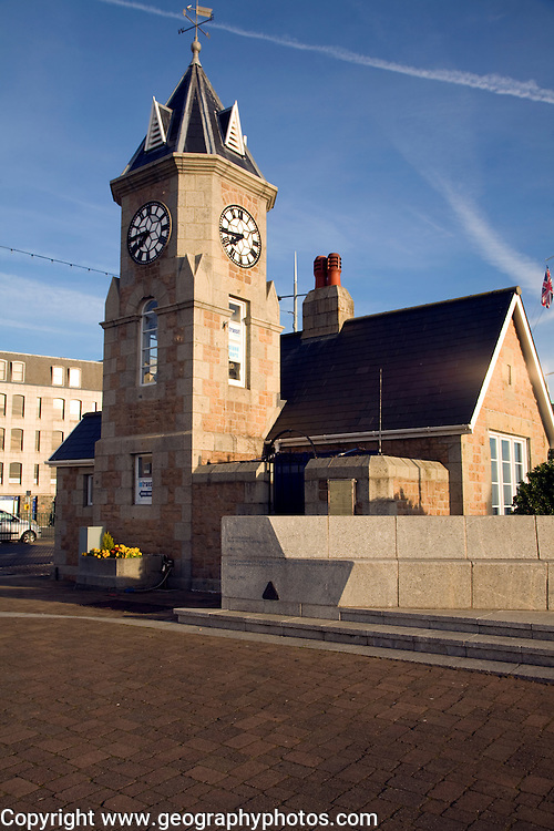 Clock tower near the harbour, St Peter Port, Guernsey, Channel Islands, UK