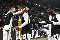 Calcio, Serie A: Juventus - Parma, Turin, Allianz Stadium, January 19, 2020.<br /> Juventus' Cristiano Ronaldo (l) celebrates after scoring his first goal in the match with his teammate Danilo (c) and Blaise Matuidi (r) during the Italian Serie A football match between Juventus and Parma at the Allianz stadium in Turin, January 19, 2020.<br /> UPDATE IMAGES PRESS/Isabella Bonotto