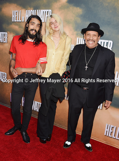 HOLLYWOOD, CA - AUGUST 10: (L-R) Gilbert Trejo, Taylor Treadwell and actor Danny Trejo arrive at the screening of CBS Films' 'Hell Or High Water' at ArcLight Hollywood on August 10, 2016 in Hollywood, California.