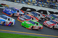 A pack of ARCA cars race through the tri-oval