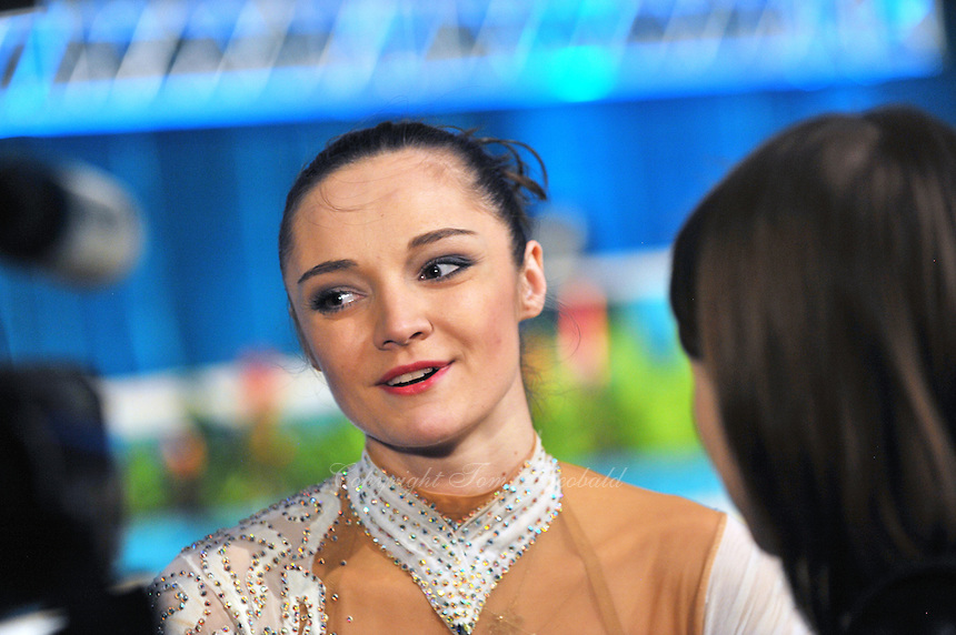"ANNA BESSONOVA of Ukraine is interviewed by tv press after performing in gala during opening ceremony at 2011 World Cup Kiev, ""Deriugina Cup"" in Kiev, Ukraine on May 07, 2011."