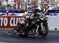 Nov 7, 2013; Pomona, CA, USA; NHRA pro stock motorcycle rider Scotty Pollacheck during qualifying for the Auto Club Finals at Auto Club Raceway at Pomona. Mandatory Credit: Mark J. Rebilas-