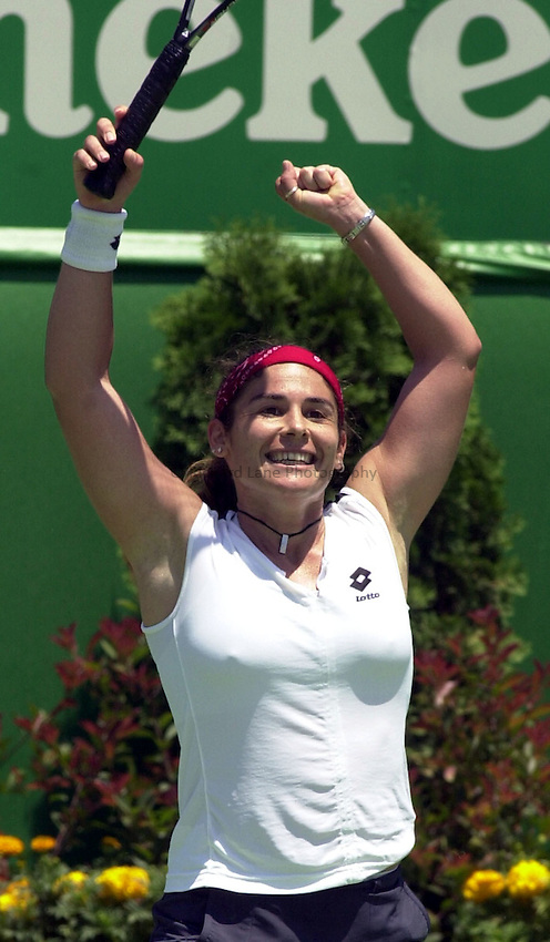 Australian Open Tennis 2003.17/01/2003.Virginia Ruano Pascual of Spain v Marlene Weingartner of Germany.Virginia Ruano Pascual