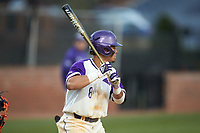 Travis Holt (8) of the High Point Panthers at bat against the Campbell Camels at Williard Stadium on March 16, 2019 in  Winston-Salem, North Carolina. The Camels defeated the Panthers 13-8. (Brian Westerholt/Four Seam Images)
