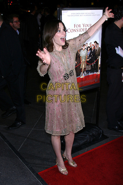"PARKER POSEY.""For Your Consideration"" Los Angeles Premiere - Arrivals held at the Director's Guild, Hollywood, California , USA,13 November 2006..full length pink gold dress buckle hands waving arms up funny.Ref: ADM/ZL.www.capitalpictures.com.sales@capitalpictures.com.©Zach Lipp/AdMedia/Capital Pictures."