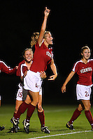 14 September 2007: Stanford Cardinal Allison Falk (4) and Rachel Buehler (15) during Stanford's 3-2 win in the Stanford Invitational against the Missouri Tigers at Maloney Field in Stanford, CA.
