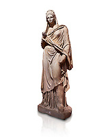 Roman statue of Plancia Magna a prominent woman from Anatolia who lived between the 1st century and 2nd century in the Roman Empire. Marble . Perge. 2nd century AD. Inv no 3459 . Antalya Archaeology Museum; Turkey. Against a white background.