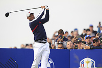 Tiger Woods (Team USA) the 7th tee during Friday Fourball at the Ryder Cup, Le Golf National, Iles-de-France, France. 28/09/2018.<br /> Picture Thos Caffrey / Golffile.ie<br /> <br /> All photo usage must carry mandatory copyright credit (© Golffile | Thos Caffrey)
