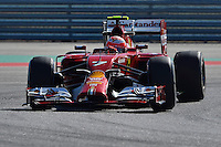 Kimi Raikkonen of Scuderia Ferrari driving (7) Ferrari F14 T during first practice session of  2014 Formula 1 United States Grand Prix, Friday, October 31, 2014 in Austin, Tex. (Mo Khursheed/TFV Media via AP Images)