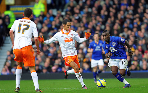 18.2.2012 Liverpool, England. Goalscorer and Everton Dutch Midfielder Royston Drenthe in action during the Budweiser FA Cup match between Everton and Blackpool, played at Goodison Park... Everton won by a score of 2-0 to move into the 6th round.