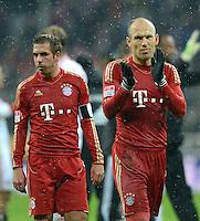 FUSSBALL   1. BUNDESLIGA  SAISON 2012/2013   9. Spieltag FC Bayern Muenchen - Bayer 04 Leverkusen    28.10.2012 Arjen Robben und Philipp Lahm (v. re., FC Bayern Muenchen)