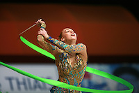 Natalya Godunko of Ukraine turns with ribbon at 2007 Thiais Grand Prix near Paris, France on March 25, 2007.