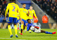 4th March 2020; King Power Stadium, Leicester, Midlands, England; English FA Cup Football, Leicester City versus Birmingham City; Kelechi Iheanacho of Leicester City slips as he shoots at goal