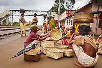once a week the tribe Dongaria kondh people come down the mountains to go to the Chatikana market in Orissa