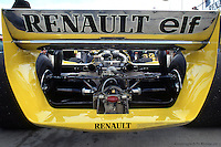 WATKINS GLEN, NY - OCTOBER 5: Rear view of the Renault RE20 25/Renault Gordini driven by Rene Arnoux during the United States Grand Prix East race at the Watkins Glen Grand Prix Race Course on October 5, 1980 at Watkins Glen, New York.