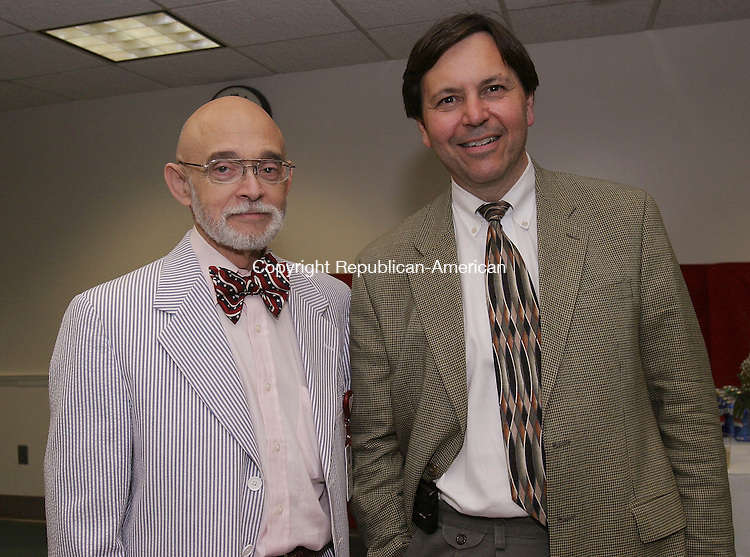 WATERBURY, CT -21 June 2005 -062105BZ11- Dr. Stephen Antopol, who works in infection control at Waterbury Hospital; and Dr. David Pizzuto, chief of staff elect;  during a dedication of the Reed Cardiology Service at Waterbury Hospital Tuesday night. <br /> Jamison C. Bazinet Photo