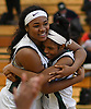 Kem Nwabudu #24 of Elmont, left, and Kiera Holland celebrate after their team's 58-51 win over Mount Sinai in the Class A varsity girls basketball Long Island Championship at SUNY Old Westbury on Saturday, March 11, 2017.