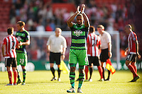 Ashley Williams applauds fans after the Barclays Premier League match between Southampton v Swansea City played at St Mary's Stadium, Southampton
