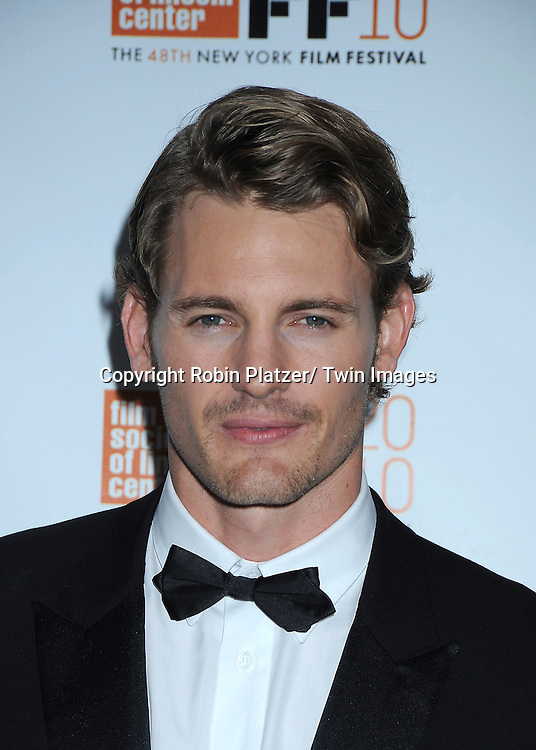 """actor Josh Pence posing for photographers at the Opening Night of The New York Film Festival world premiere of """"The Social Network"""" on September24, 2010 at Alice Tully Hall in New York City."""
