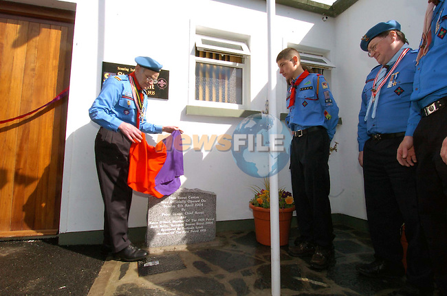 Peter Dixon Chief Scout unvaling the memorial stone at the opening of the New Scout hall..Picture Fran Caffrey Newsfile