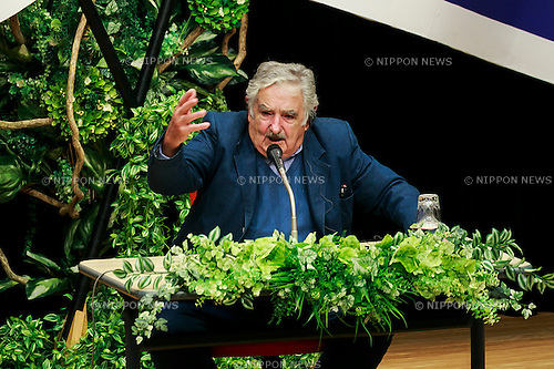 Former Uruguayan President Jose ''Pepe'' Mujica lectures at the Tokyo University of Foreign Studies (TUSF) in Tokyo, April 7, 2016, Tokyo, Japan. More than 300 university students and media listened to Mujica talk about his book ''A Black Sheep to Power.'' (Photo by Rodrigo Reyes Marin/AFLO)