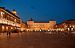 Piazza Castello in Turin, Italy with the Royal Palace in the background at night