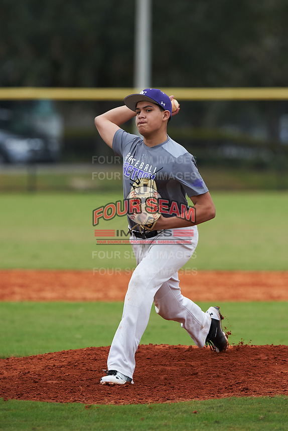 Ivan Angeles (12) of Visalia, California during the Baseball Factory All-America Pre-Season Rookie Tournament, powered by Under Armour, on January 13, 2018 at Lake Myrtle Sports Complex in Auburndale, Florida.  (Michael Johnson/Four Seam Images)