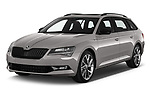2019 Skoda Superb-Combi Sport-Line 5 Door Wagon Angular Front stock photos of front three quarter view