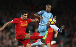Dejan Lovren of Liverpool and Fernandinho of Manchester City during the English Premier League match at Anfield Stadium, Liverpool. Picture date: December 31st, 2016. Photo credit should read: Lynne Cameron/Sportimage