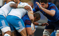 Rugby, Torneo Sei Nazioni: Italia vs Francia. Roma, stadio Olimpico, 15 marzo 2015.<br /> France's Gael Fickou, second from right, is challenged by Italian players during the Six Nations championship rugby match between Italy and France at Rome's Olympic stadium, 15 March 2015.<br /> UPDATE IMAGES PRESS/Riccardo De Luca