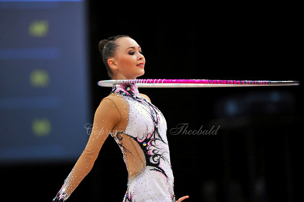 Anna Alyabyeva of Kazakhstan performs in Event Finals at 2010 World Cup at Portimao, Portugal on March 14, 2010.  (Photo by Tom Theobald).