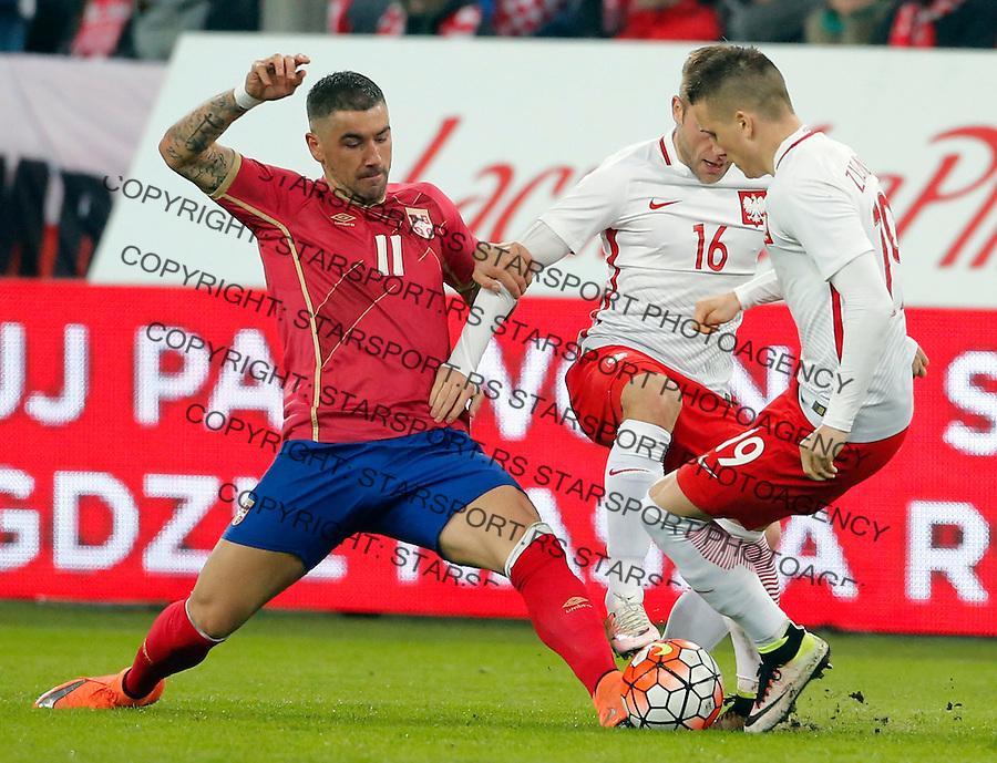 Aleksandar Kolarov Poljska - Srbija prijateljska, Poland - Serbia friendly football match, March 23. 2016. Poznan  (credit image & photo: Pedja Milosavljevic / STARSPORT)