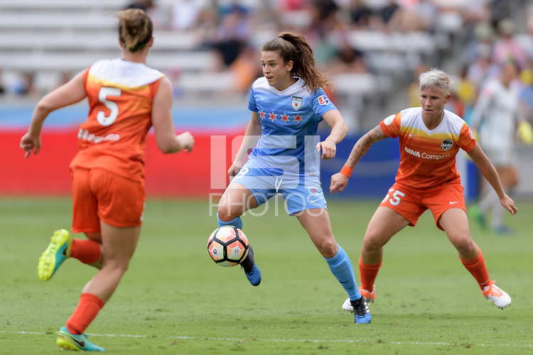 Houston, TX - The Houston Dash defeated the Chicago Red Stars 2-0 on Saturday April 15, 2017: Stephanie Mccaffrey, Janine van Wyk during a regular season National Women's Soccer League (NWSL) match at BBVA Compass Stadium.