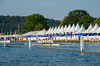 """Henley on Thames, United Kingdom, 3rd July 2018, Friday,  """"Henley Royal Regatta"""",  On the course, St Paul's School, in a heat of """"The Princess Elizabeth Challenge Cup"""", Henley Reach, River Thames, Thames Valley, England, UK."""
