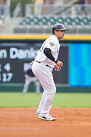 Avisail Garcia (43) of the Charlotte Knights takes his lead off of second base against the Pawtucket Red Sox at BB&T Ballpark on August 8, 2014 in Charlotte, North Carolina.  The Red Sox defeated the Knights  11-8.  (Brian Westerholt/Four Seam Images)