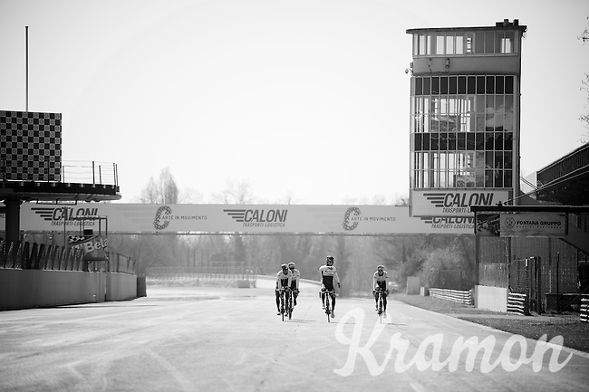 training/coffee ride with Team Orica-GreenEDGE at the F1 Monza race circuit 1 day before Milan-San Remo