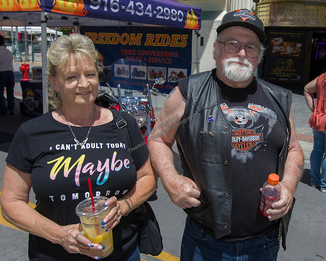 Ellie and Tim from Nevada City during the Street Vibrations Spring Rally in Downtown Reno on Saturday, June 2 , 2018
