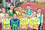 Competing at the Juvenile Athletic Championships in Castleisland on Sunday was front l-r: Beatrice Casey Gneeveguilla, Katlyn McCarthy Spa/Fenit/Barrow, Sinead Hogan, Siobhain Fitzgerald Gneeveguilla. Back row: Aine O'Connor Riocht, Shauna O'Connor Riocht, Danielle O'Connor Gneeveguilla, Labhaoise Walmsley and Nicole Downey Riocht    Copyright Kerry's Eye 2008