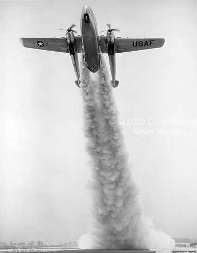An AC-119K takes off using two J85 engines for jet-assisted takeoff. The C-119, developed from the World War 2 Fairchild C-82, was designed to carry cargo, personnel, litter patients, and mechanized equipment, and to drop cargo and troops by parachute. The first C-119 made its initial flight in November, 1947 and by the time production ceased in 1955, more than 1,100 C-119s had been built..Credit: U.S. Air Force via CNP