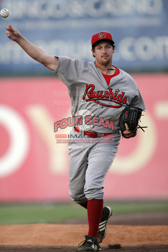 July 26 2009: Bryan Shaw of the Visalia Rawhide during game against the Inland Empire 66'ers at Arrowhead Credit Union Park in San Bernardino,CA..Photo by Larry Goren/Four Seam Images